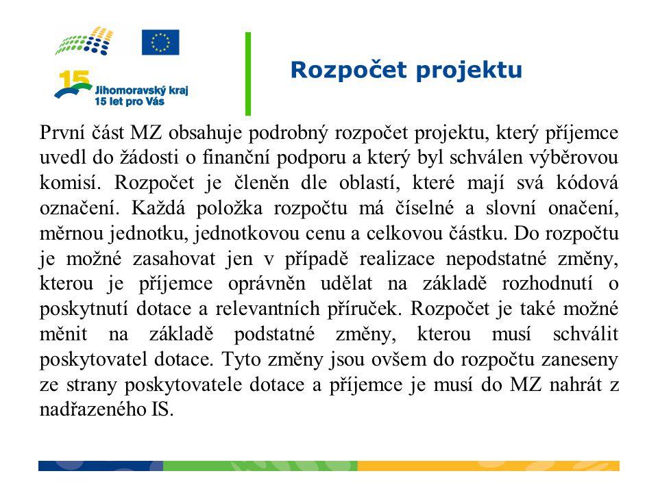 Rozpočet projektu První část MZ obsahuje podrobný rozpočet projektu, který příjemce uvedl do žádosti o finanční podporu a který byl schválen výběrovou