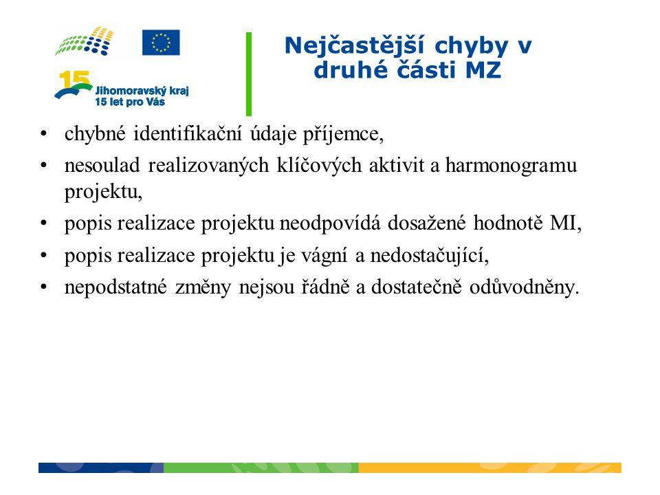Nejčastější chyby v druhé části MZ chybné identifikační údaje příjemce, nesoulad realizovaných klíčových aktivit a harmonogramu projektu, popis realiz