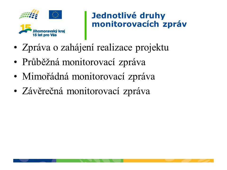 Jednotlivé druhy monitorovacích zpráv Zpráva o zahájení realizace projektu Průběžná monitorovací zpráva Mimořádná monitorovací zpráva Závěrečná monito