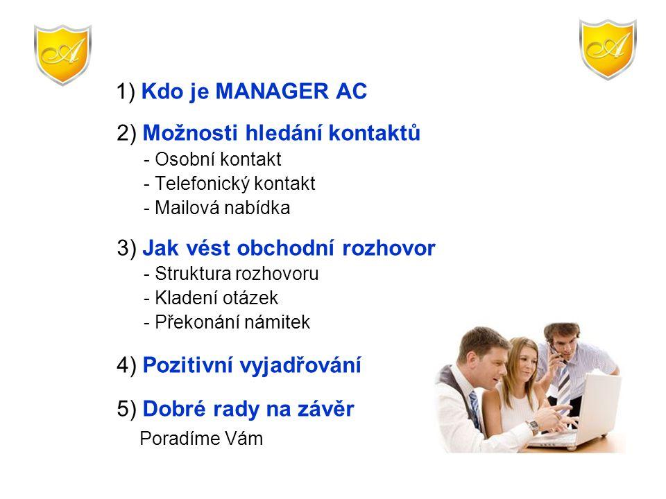 1) Kdo je MANAGER AC 2) Možnosti hledání kontaktů - Osobní kontakt - Telefonický kontakt - Mailová nabídka 3) Jak vést obchodní rozhovor - Struktura r