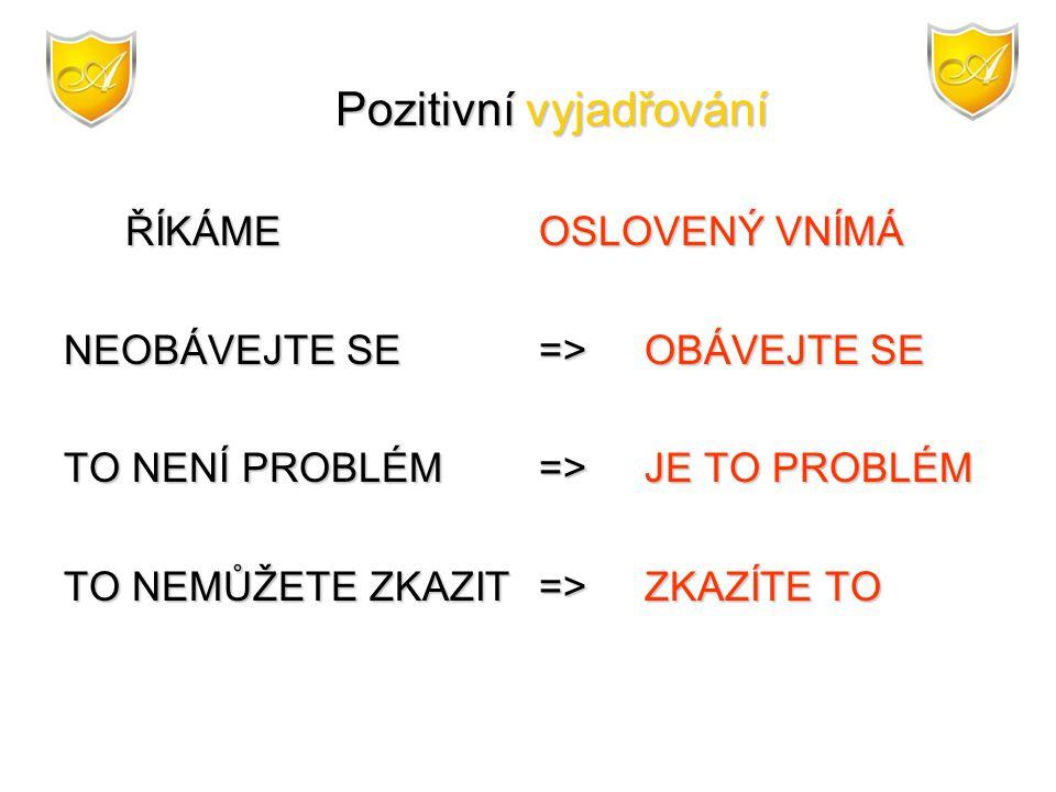 Pozitivní vyjadřování Pozitivní vyjadřování ŘÍKÁME OSLOVENÝ VNÍMÁ NEOBÁVEJTE SE =>OBÁVEJTE SE TO NENÍ PROBLÉM=>JE TO PROBLÉM TO NEMŮŽETE ZKAZIT=>ZKAZÍ