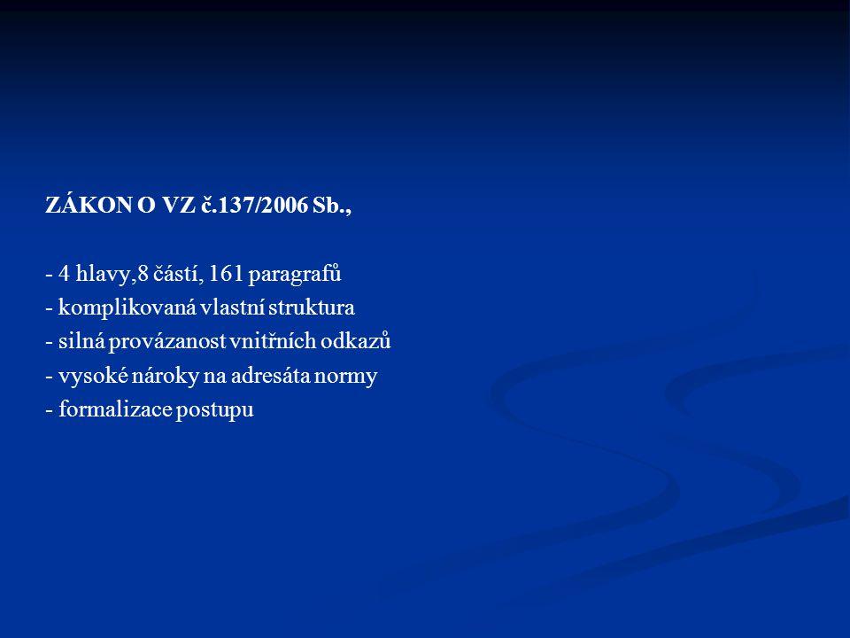ZÁKON O VZ č.137/2006 Sb., - 4 hlavy,8 částí, 161 paragrafů - komplikovaná vlastní struktura - silná provázanost vnitřních odkazů - vysoké nároky na a