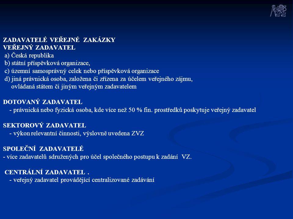 ZADAVATELÉ VEŘEJNÉ ZAKÁZKY VEŘEJNÝ ZADAVATEL a) Česká republika b) státní příspěvková organizace, c) územní samosprávný celek nebo příspěvková organiz