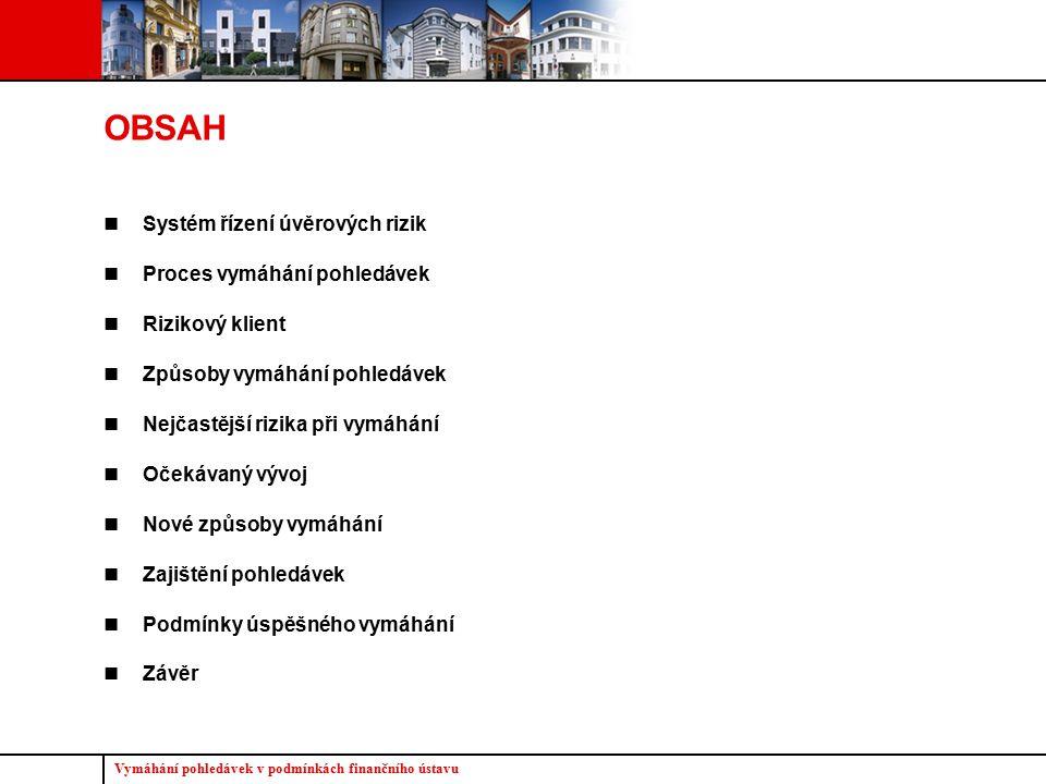 Vymáhání pohledávek v podmínkách finančního ústavu 2 OBSAH Systém řízení úvěrových rizik Proces vymáhání pohledávek Rizikový klient Způsoby vymáhání p