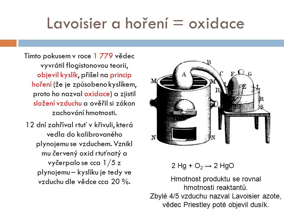 Lavoisier a hoření = oxidace Tímto pokusem v roce 1 779 vědec vyvrátil flogistonovou teorii, objevil kyslík, přišel na princip hoření (že je způsobeno