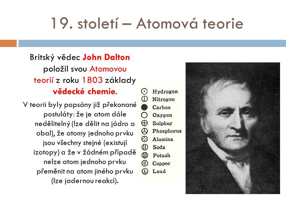 19. století – Atomová teorie Britský vědec John Dalton položil svou Atomovou teorií z roku 1803 základy vědecké chemie. V teorii byly popsány již přek
