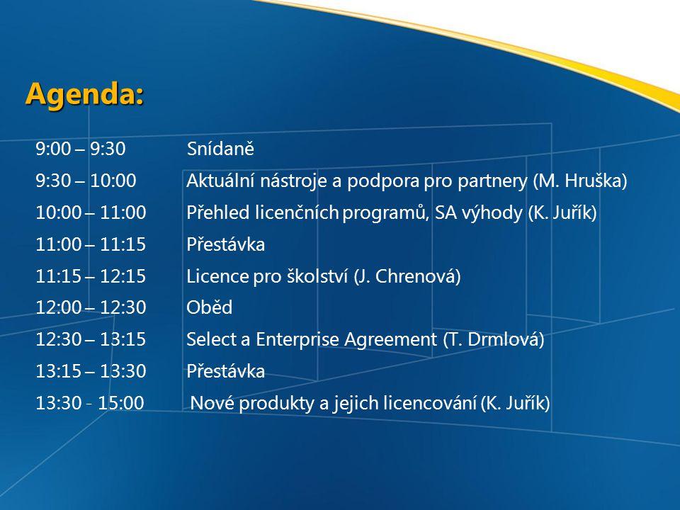 Agenda: 9:00 – 9:30 Snídaně 9:30 – 10:00 Aktuální nástroje a podpora pro partnery (M.