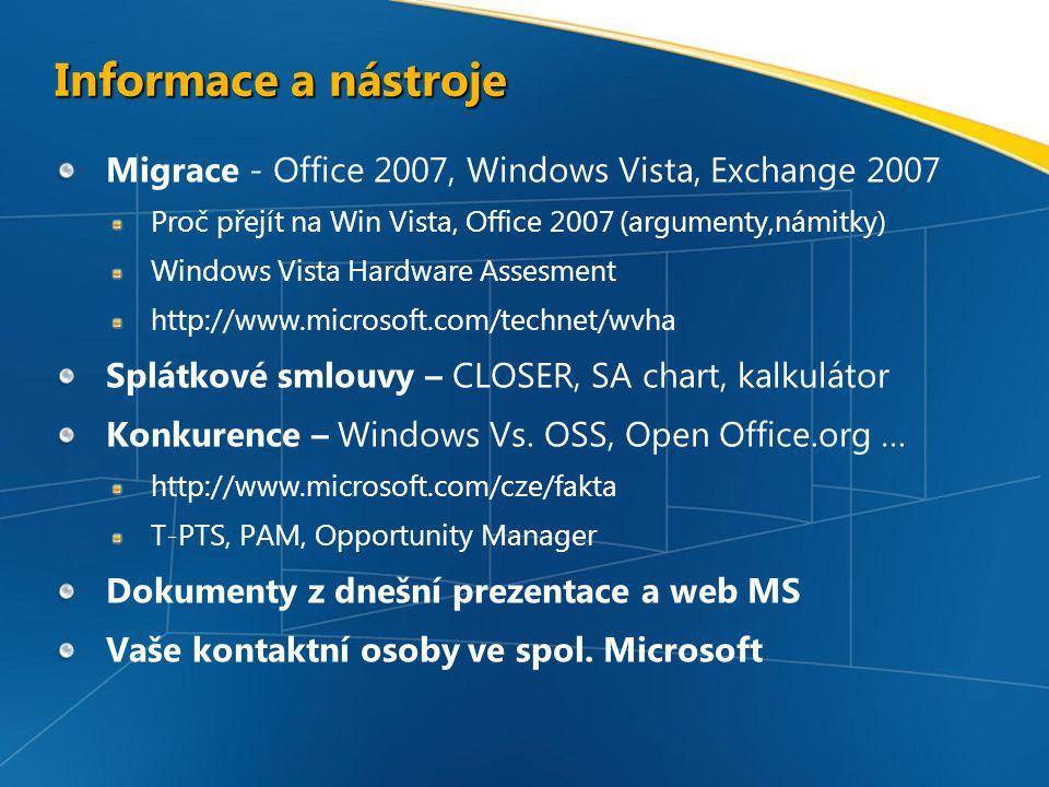 Informace a nástroje Migrace - Office 2007, Windows Vista, Exchange 2007 Proč přejít na Win Vista, Office 2007 (argumenty,námitky) Windows Vista Hardware Assesment http://www.microsoft.com/technet/wvha Splátkové smlouvy – CLOSER, SA chart, kalkulátor Konkurence – Windows Vs.