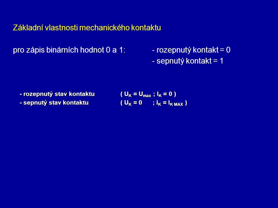 Základní vlastnosti mechanického kontaktu pro zápis binárních hodnot 0 a 1: - rozepnutý kontakt = 0 - sepnutý kontakt = 1 - rozepnutý stav kontaktu( U K = U max ; I K = 0 ) - sepnutý stav kontaktu( U K = 0 ; I K = I K MAX )