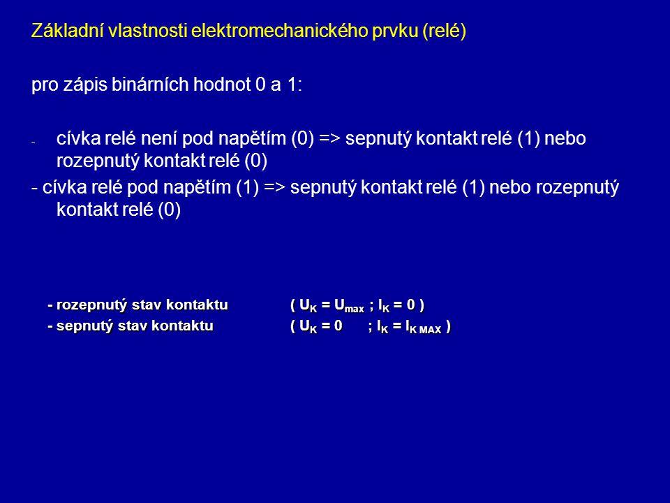 Základní vlastnosti elektromechanického prvku (relé) pro zápis binárních hodnot 0 a 1: - - cívka relé není pod napětím (0) => sepnutý kontakt relé (1) nebo rozepnutý kontakt relé (0) - cívka relé pod napětím (1) => sepnutý kontakt relé (1) nebo rozepnutý kontakt relé (0) - rozepnutý stav kontaktu( U K = U max ; I K = 0 ) - sepnutý stav kontaktu( U K = 0 ; I K = I K MAX )