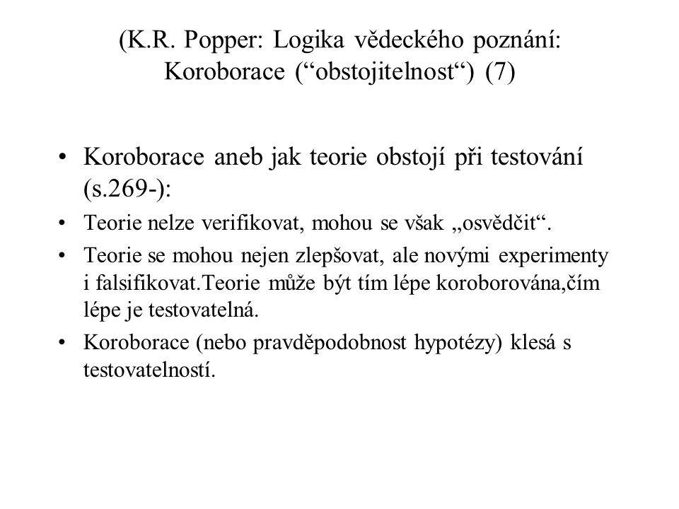 """(K.R. Popper: Logika vědeckého poznání: Koroborace (""""obstojitelnost"""") (7) Koroborace aneb jak teorie obstojí při testování (s.269-): Teorie nelze veri"""