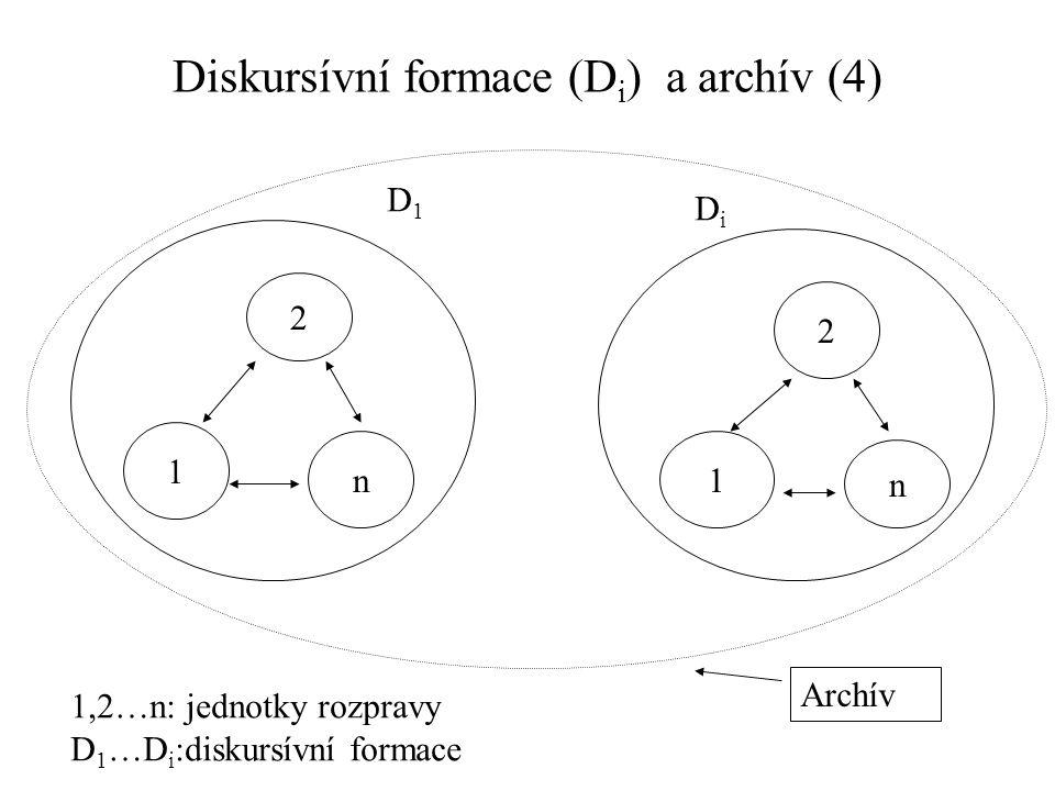Diskursívní formace (D i ) a archív (4) 1,2…n: jednotky rozpravy D 1 …D i :diskursívní formace 1 2 n1 2 n D1D1 DiDi Archív
