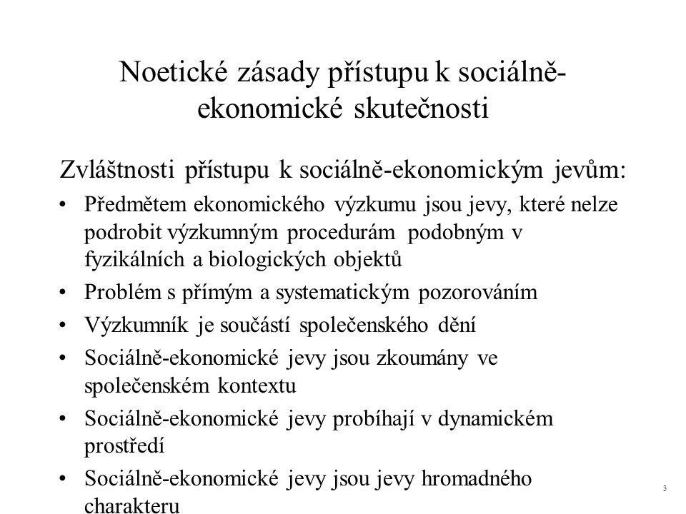 Noetické zásady přístupu k sociálně- ekonomické skutečnosti Zvláštnosti přístupu k sociálně-ekonomickým jevům: Předmětem ekonomického výzkumu jsou jev