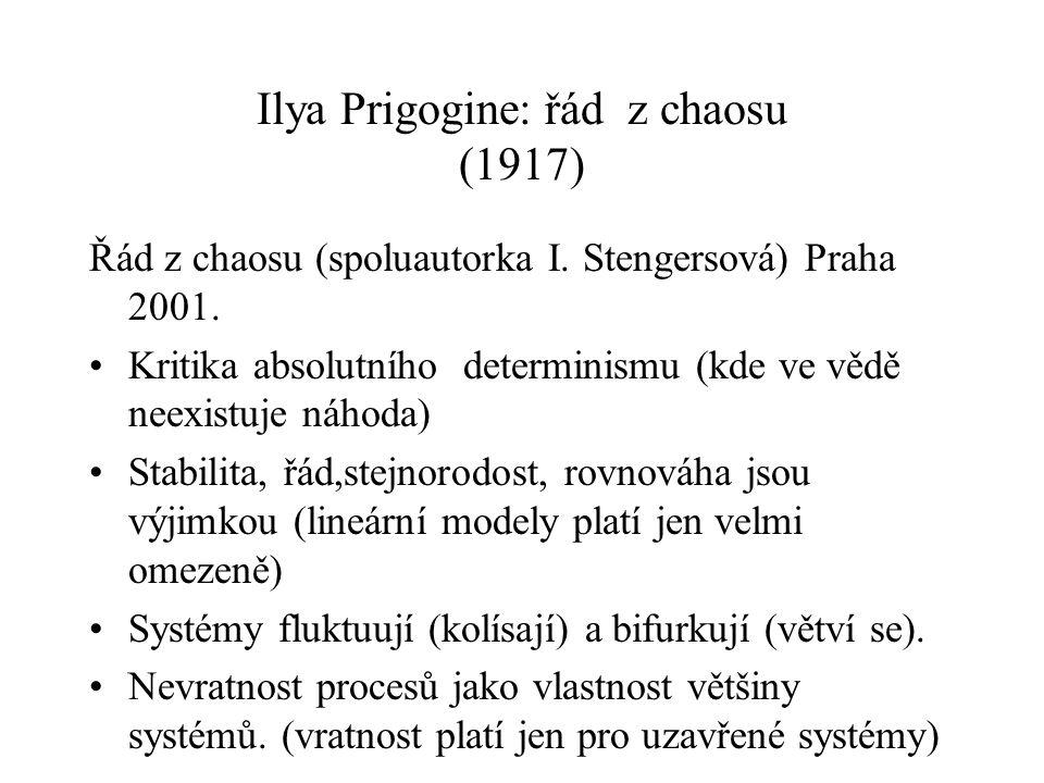Ilya Prigogine: řád z chaosu (1917) Řád z chaosu (spoluautorka I. Stengersová) Praha 2001. Kritika absolutního determinismu (kde ve vědě neexistuje ná