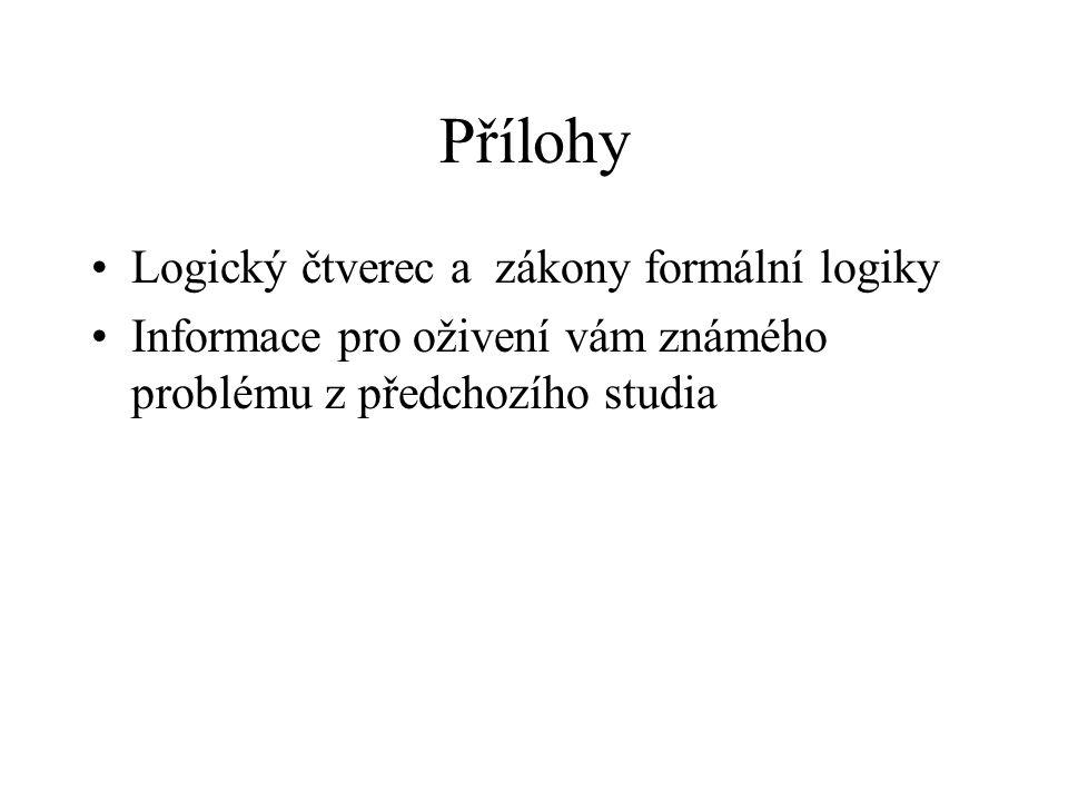Přílohy Logický čtverec a zákony formální logiky Informace pro oživení vám známého problému z předchozího studia