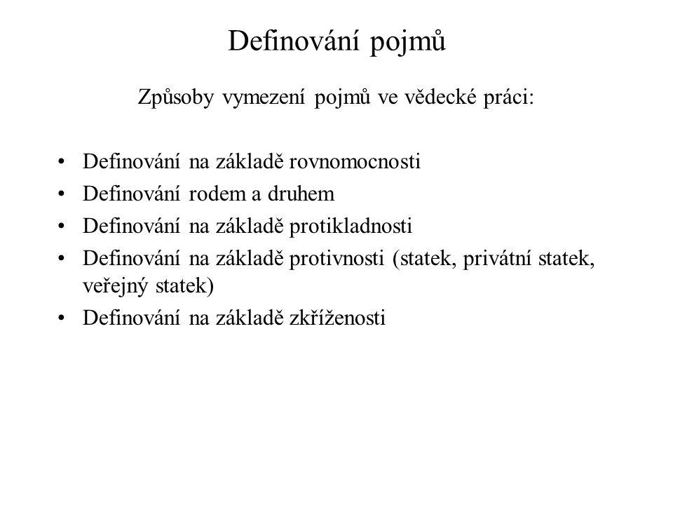 Definování pojmů Způsoby vymezení pojmů ve vědecké práci: Definování na základě rovnomocnosti Definování rodem a druhem Definování na základě protikla
