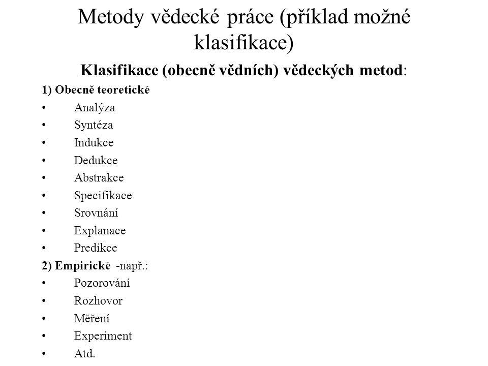 Metody vědecké práce (příklad možné klasifikace) Klasifikace (obecně vědních) vědeckých metod: 1) Obecně teoretické Analýza Syntéza Indukce Dedukce Ab