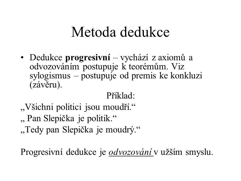 Metoda dedukce Dedukce progresivní – vychází z axiomů a odvozováním postupuje k teorémům. Viz sylogismus – postupuje od premis ke konkluzi (závěru). P