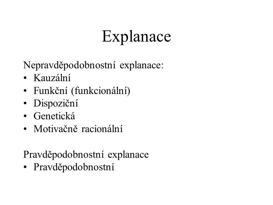 Explanace Nepravděpodobnostní explanace: Kauzální Funkční (funkcionální) Dispoziční Genetická Motivačně racionální Pravděpodobnostní explanace Pravděp