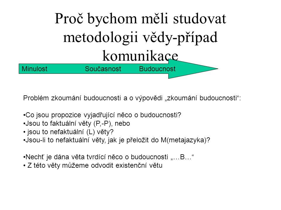 """Proč bychom měli studovat metodologii vědy-případ komunikace Minulost Současnost Budoucnost Nechť je dána věta tvrdící něco o budoucnosti """"…B… Z této věty můžeme odvodit existenční větu """"( f)(…f..) Tato věta má v M 3 interpretace: 1.""""Existuje takové f, že...f.. (termín) 2.""""Existuje taková třída f, že.."""