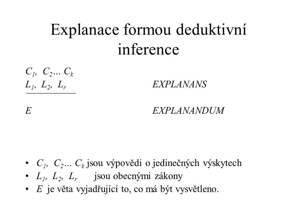 Explanace formou deduktivní inference C 1, C 2 … C k L 1, L 2, L r EXPLANANS ¯¯¯¯¯¯¯¯¯¯ E EXPLANANDUM C 1, C 2 … C k jsou výpovědi o jedinečných výsky