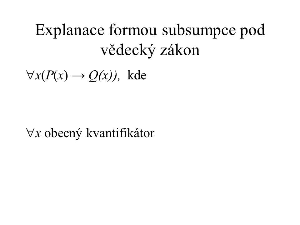 Explanace formou subsumpce pod vědecký zákon  x(P(x) → Q(x)), kde  x obecný kvantifikátor
