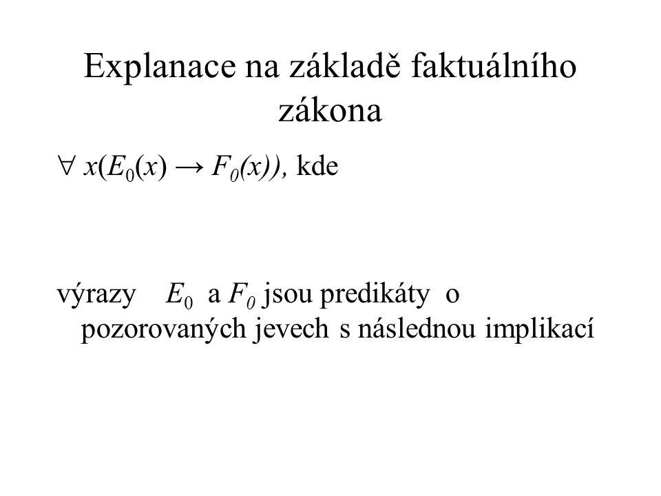 Explanace na základě faktuálního zákona  x(E 0 (x) → F 0 (x)), kde výrazy E 0 a F 0 jsou predikáty o pozorovaných jevech s následnou implikací