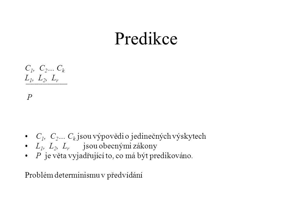 C 1, C 2 … C k L 1, L 2, L r ¯¯¯¯¯¯¯¯¯¯ P C 1, C 2 … C k jsou výpovědi o jedinečných výskytech L 1, L 2, L r jsou obecnými zákony P je věta vyjadřujíc