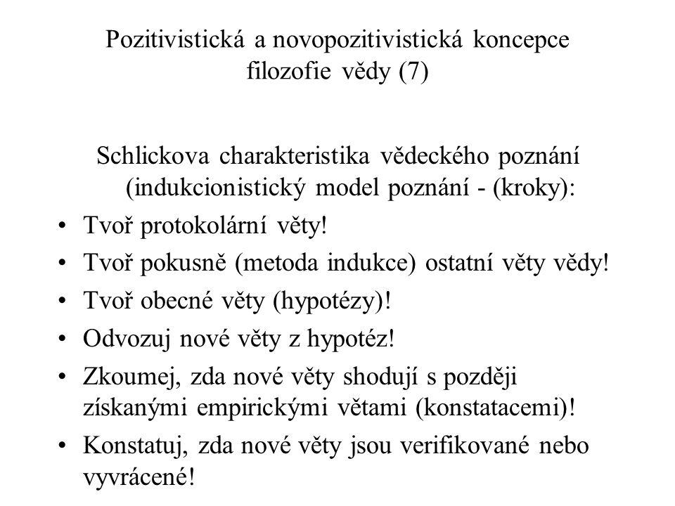 Pozitivistická a novopozitivistická koncepce filozofie vědy (7) Schlickova charakteristika vědeckého poznání (indukcionistický model poznání - (kroky)
