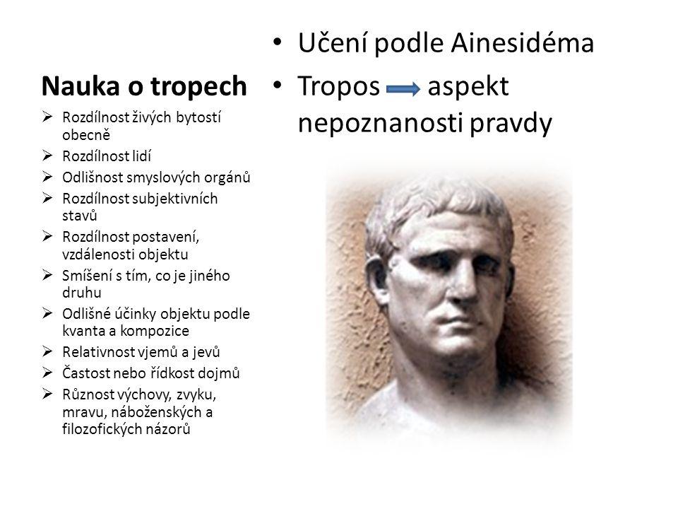  Definuj podstatu filozofie skepticismu  Uveď zástupce tohoto filozofického směru  Vysvětli pojem tropos, uveď příklad