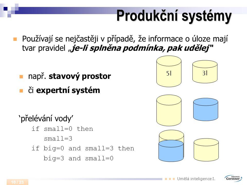 """Umělá inteligence I. 10 / 23 Produkční systémy Používají se nejčastěji v případě, že informace o úloze mají tvar pravidel """"je-li splněna podmínka, pak"""