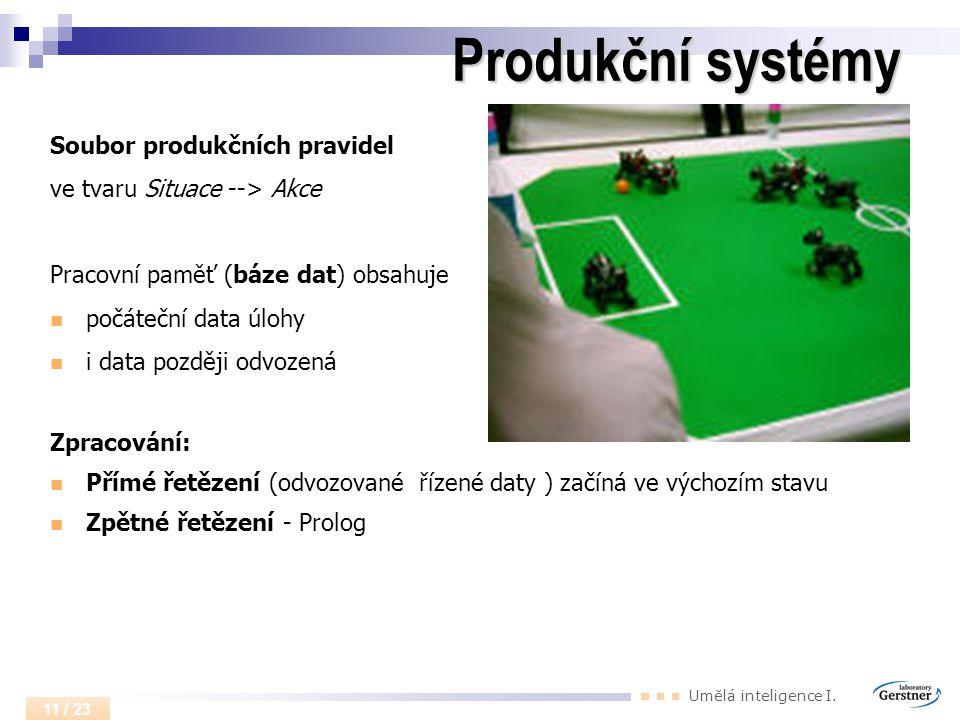 Umělá inteligence I. 11 / 23 Produkční systémy Soubor produkčních pravidel ve tvaru Situace --> Akce Pracovní paměť (báze dat) obsahuje počáteční data