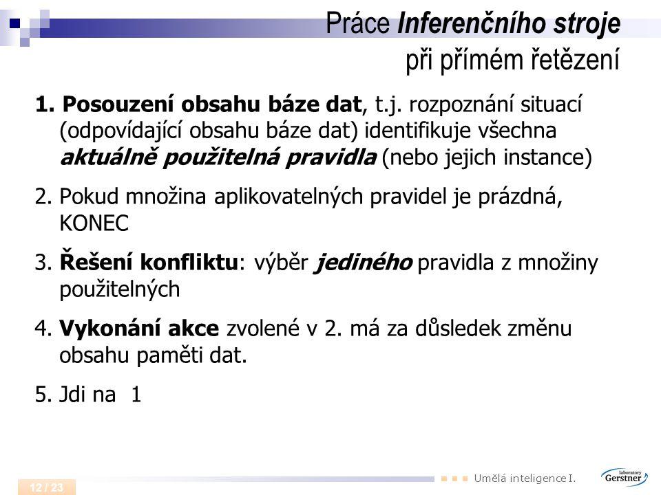 Umělá inteligence I. 12 / 23 Práce Inferenčního stroje při přímém řetězení 1. Posouzení obsahu báze dat, t.j. rozpoznání situací (odpovídající obsahu
