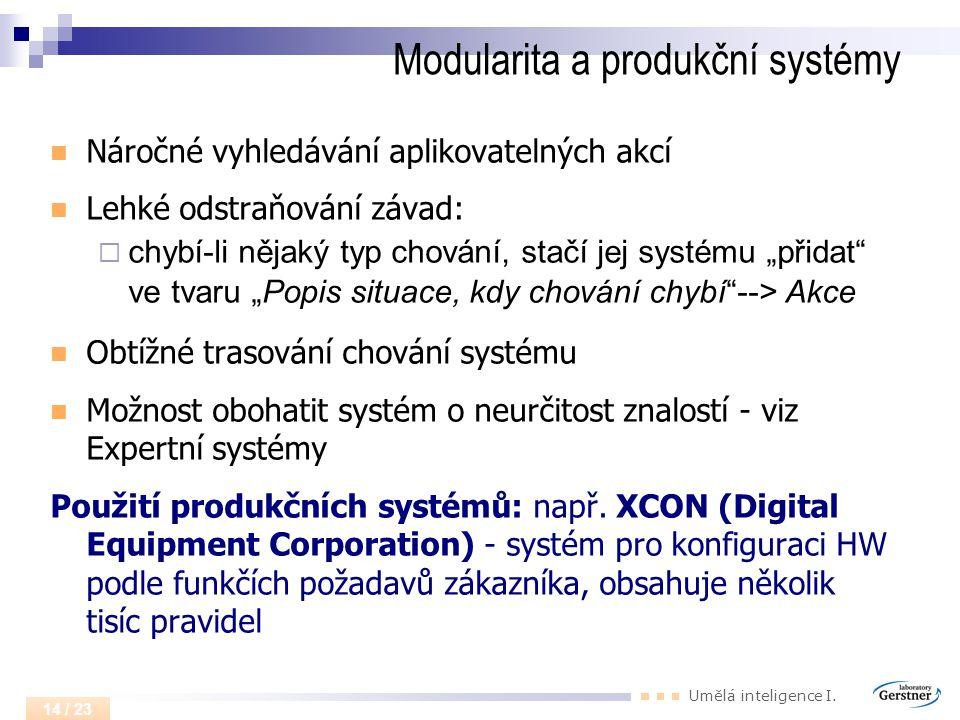 Umělá inteligence I. 14 / 23 Modularita a produkční systémy Náročné vyhledávání aplikovatelných akcí Lehké odstraňování závad:  chybí-li nějaký typ c