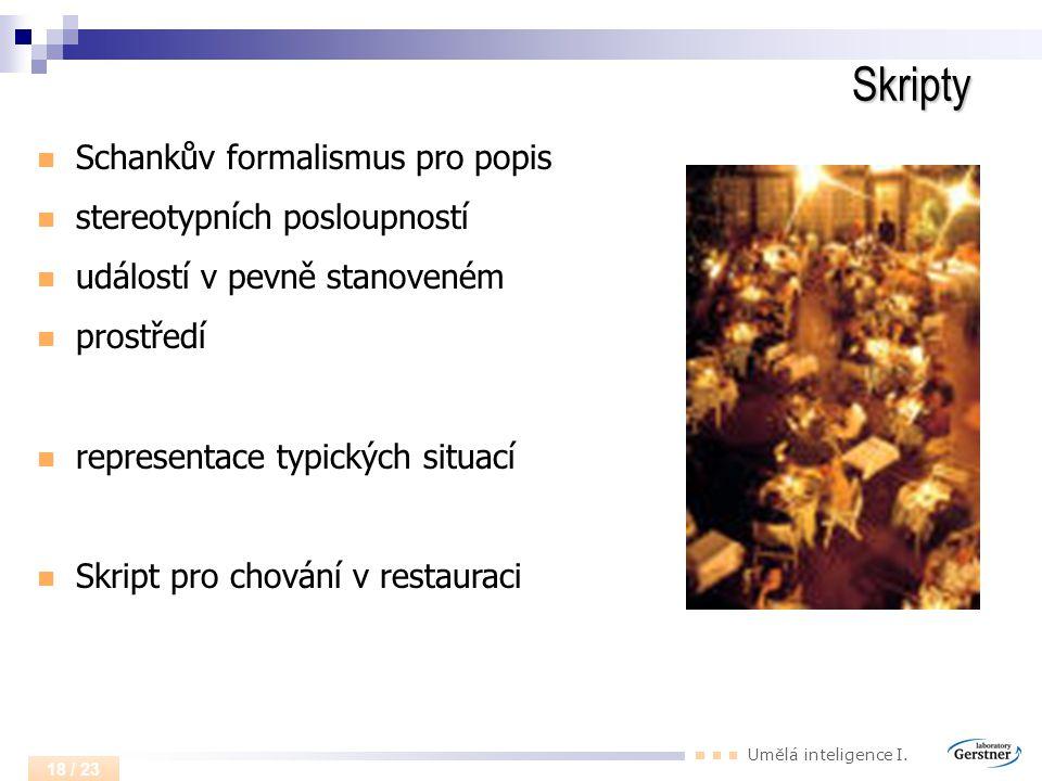 Umělá inteligence I. 18 / 23 Skripty Schankův formalismus pro popis stereotypních posloupností událostí v pevně stanoveném prostředí representace typi