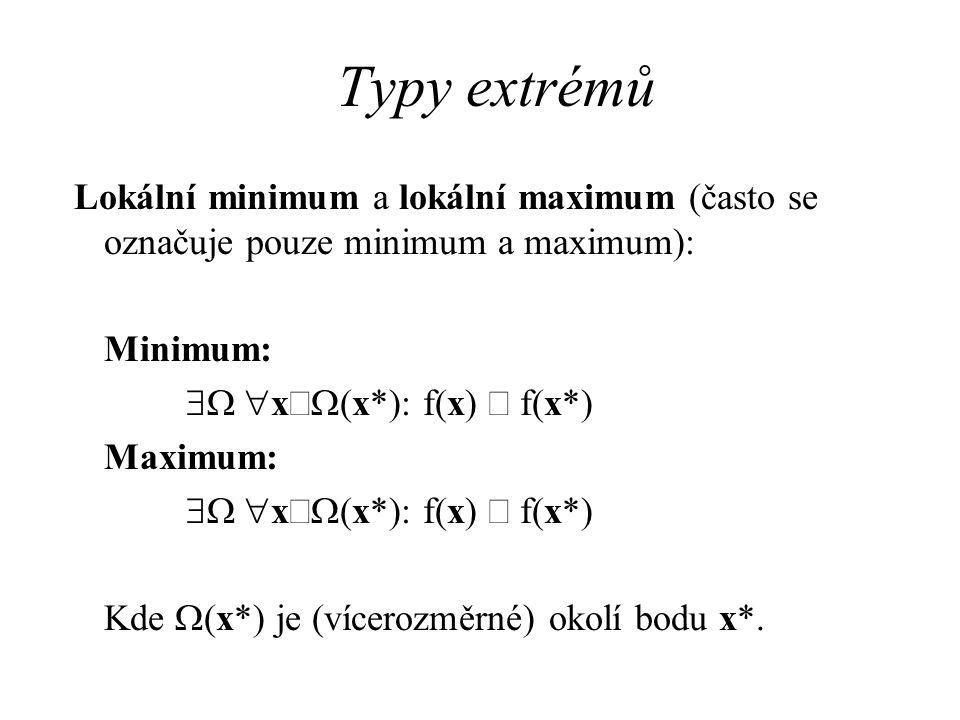 Typy extrémů Lokální minimum a lokální maximum (často se označuje pouze minimum a maximum): Minimum:  x  (x*): f(x)  f(x*) Maximum:  x  (x*): f(x)  f(x*) Kde  (x*) je (vícerozměrné) okolí bodu x*.