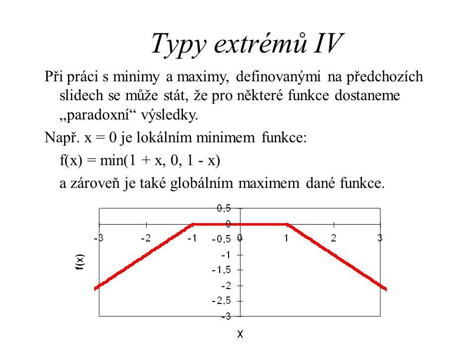"""Typy extrémů IV Při práci s minimy a maximy, definovanými na předchozích slidech se může stát, že pro některé funkce dostaneme """"paradoxní"""" výsledky. N"""