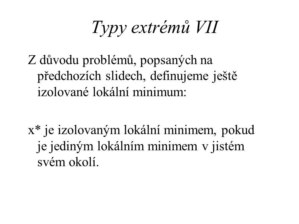 Typy extrémů VII Z důvodu problémů, popsaných na předchozích slidech, definujeme ještě izolované lokální minimum: x* je izolovaným lokální minimem, pokud je jediným lokálním minimem v jistém svém okolí.