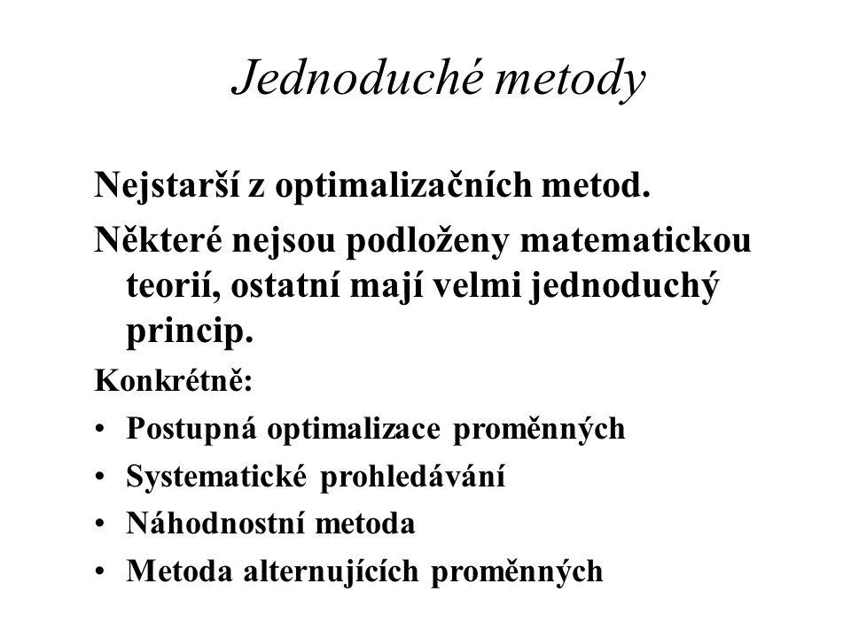 Jednoduché metody Nejstarší z optimalizačních metod. Některé nejsou podloženy matematickou teorií, ostatní mají velmi jednoduchý princip. Konkrétně: P