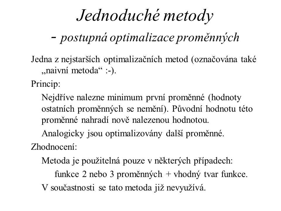 """Jednoduché metody - postupná optimalizace proměnných Jedna z nejstarších optimalizačních metod (označována také """"naivní metoda :-)."""