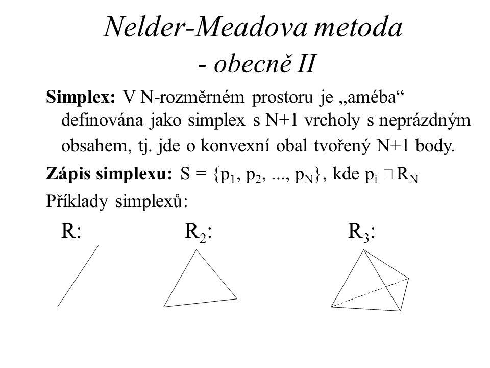 "Nelder-Meadova metoda - obecně II Simplex: V N-rozměrném prostoru je ""améba"" definována jako simplex s N+1 vrcholy s neprázdným obsahem, tj. jde o kon"