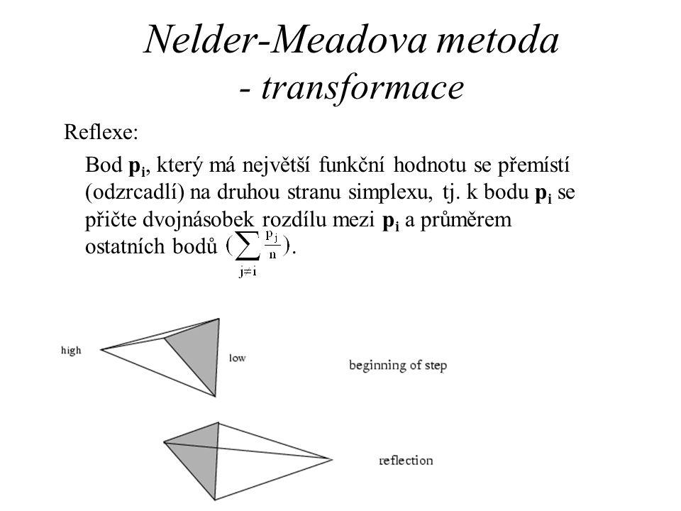Nelder-Meadova metoda - transformace Reflexe: Bod p i, který má největší funkční hodnotu se přemístí (odzrcadlí) na druhou stranu simplexu, tj.