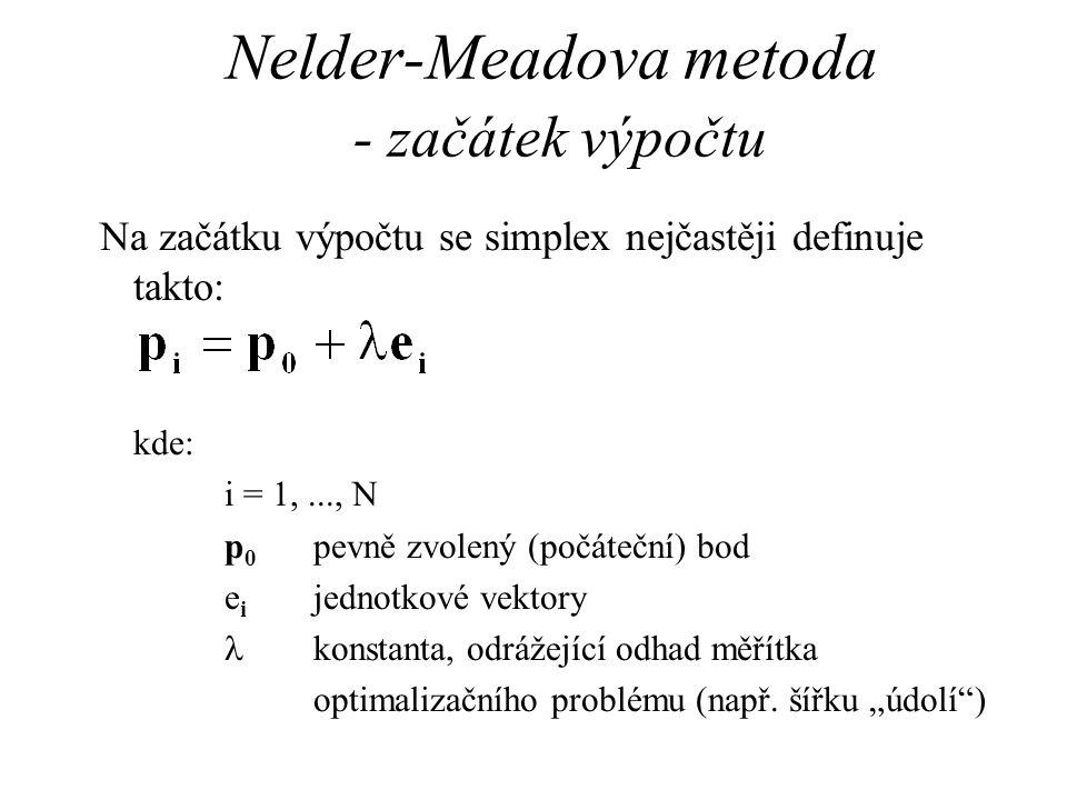 Nelder-Meadova metoda - začátek výpočtu Na začátku výpočtu se simplex nejčastěji definuje takto: kde: i = 1,..., N p 0 pevně zvolený (počáteční) bod e i jednotkové vektory konstanta, odrážející odhad měřítka optimalizačního problému (např.