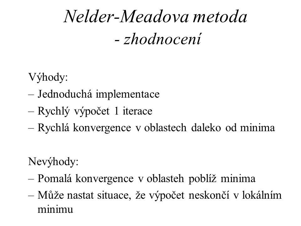 Nelder-Meadova metoda - zhodnocení Výhody: –Jednoduchá implementace –Rychlý výpočet 1 iterace –Rychlá konvergence v oblastech daleko od minima Nevýhody: –Pomalá konvergence v oblasteh poblíž minima –Může nastat situace, že výpočet neskončí v lokálním minimu
