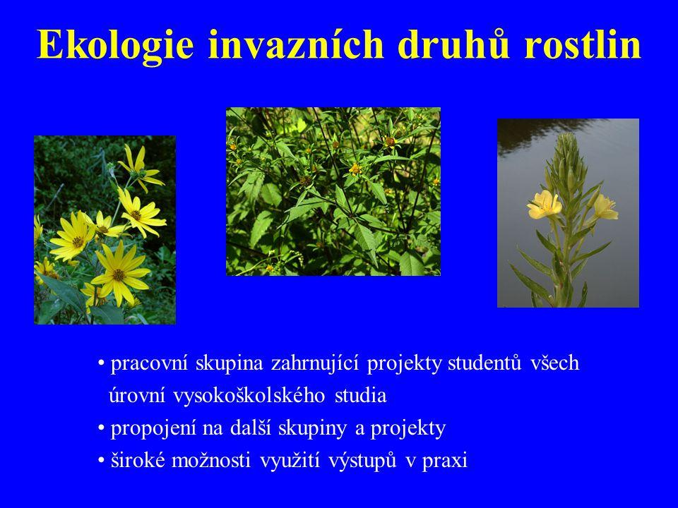 Ekologie invazních druhů rostlin pracovní skupina zahrnující projekty studentů všech úrovní vysokoškolského studia propojení na další skupiny a projekty široké možnosti využití výstupů v praxi
