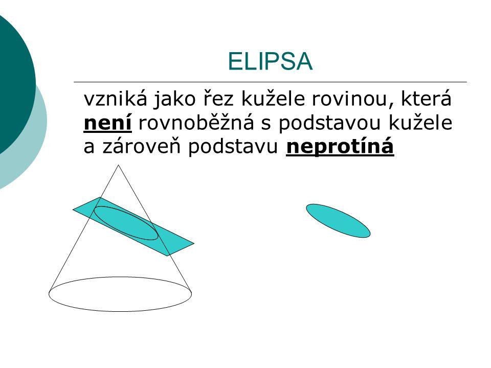 ELIPSA vzniká jako řez kužele rovinou, která není rovnoběžná s podstavou kužele a zároveň podstavu neprotíná