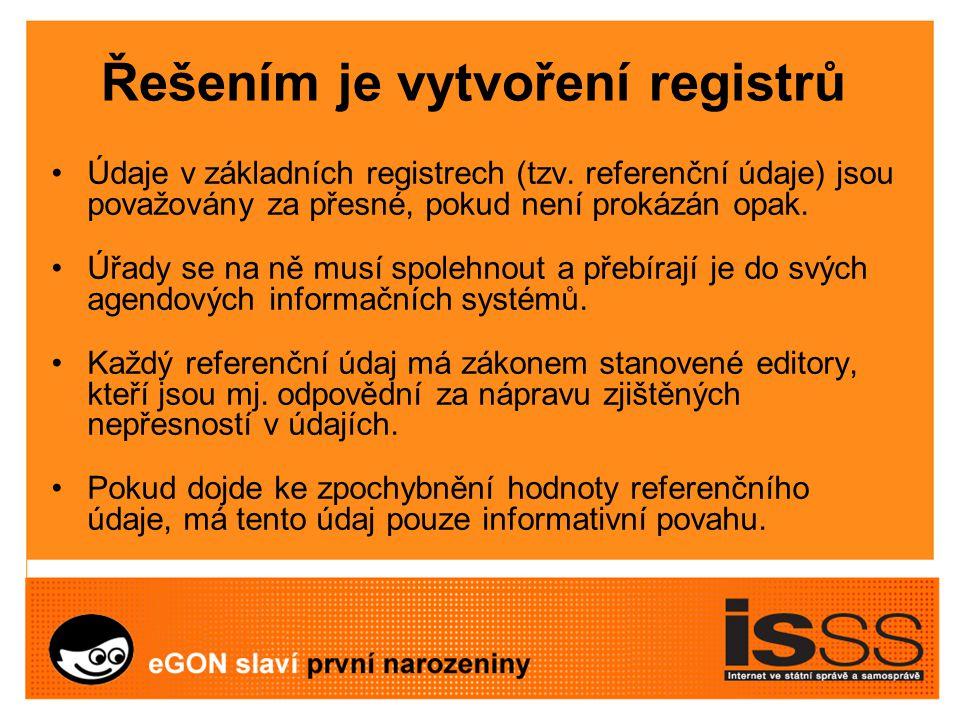 Řešením je vytvoření registrů Údaje v základních registrech (tzv.