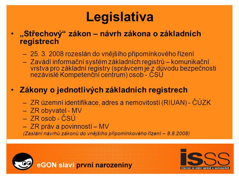 """Legislativa """"Střechový zákon – návrh zákona o základních registrech –25."""