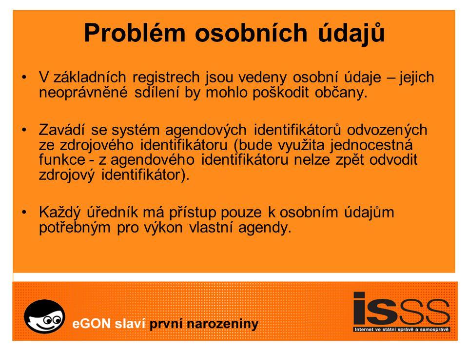Problém osobních údajů V základních registrech jsou vedeny osobní údaje – jejich neoprávněné sdílení by mohlo poškodit občany.