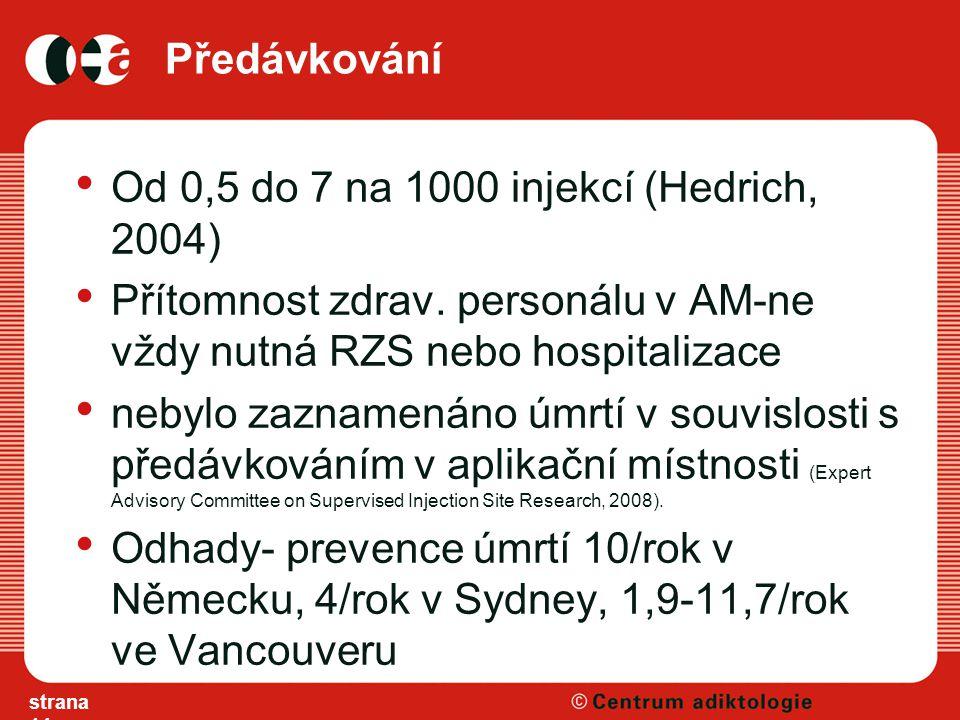 Předávkování Od 0,5 do 7 na 1000 injekcí (Hedrich, 2004) Přítomnost zdrav.